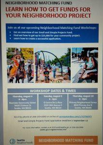Neighborhood Matching Fund flyer